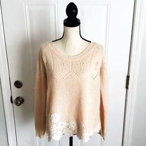 Sundance Peach Wool Blend Floral Appliqué Sweater